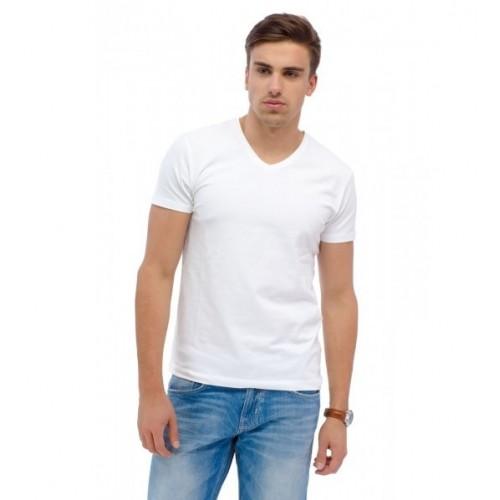 Мужская белая футболка вырез мыс