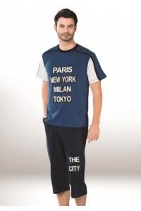 Мужская пижама-футболка и капри