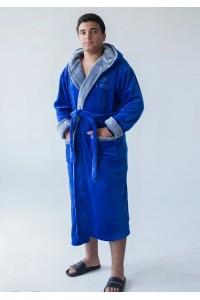 Мужской халат с капюшоном King-электрик