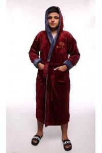 Мужской халат с капюшоном King-бордовый