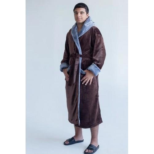 Мужской халат с капюшоном King-коричневый