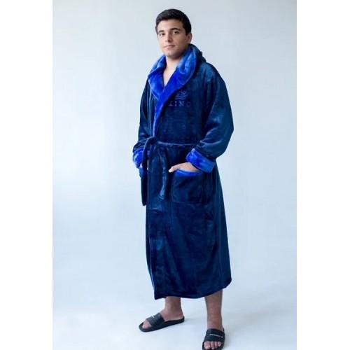 Мужской халат с капюшоном King-синий