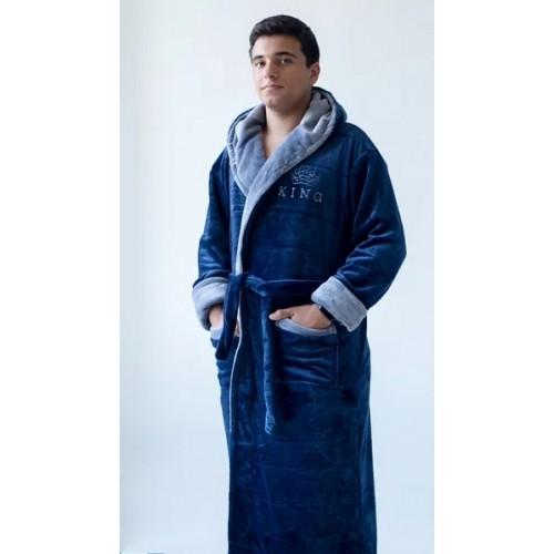 Мужской халат с капюшоном King - ультрамариновый