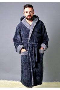 Серый мужской махровый халат