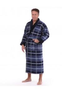 Банный мужской халат синий