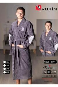 Мужской натуральный халат без капюшона