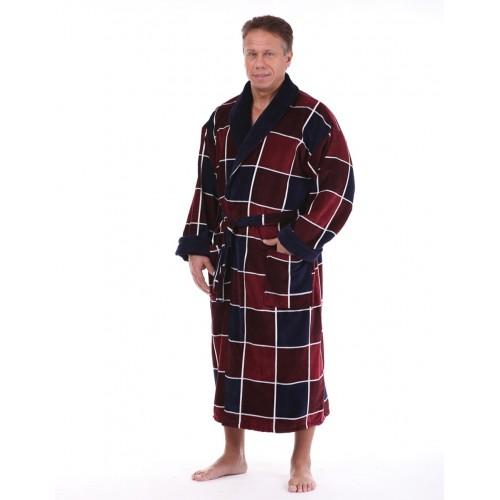 Мужской натуральный халат бордовый