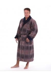 Натуральный мужской халат коричневый