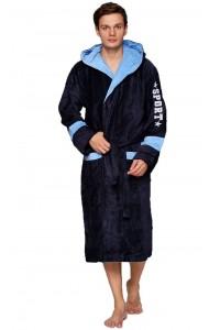 Спортивный мужской халат с капюшоном