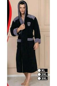 Хлопковый мужской халат с капюшоном