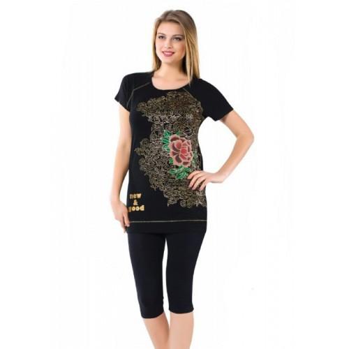 Женский комплект бриджи с футболкой