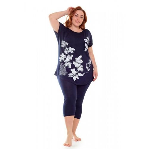 Женский комплект футболка и бриджи больших размеров