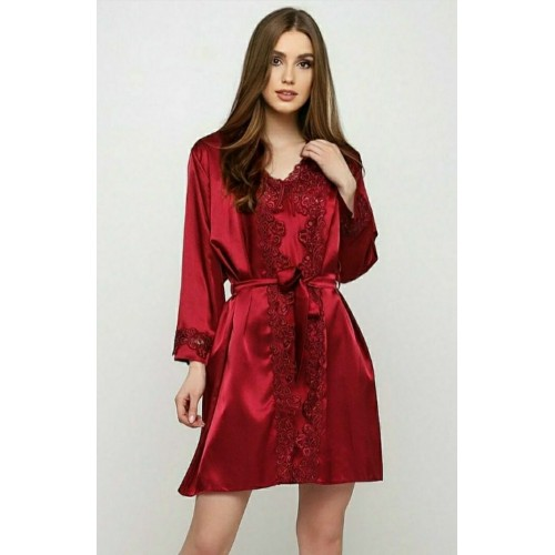Пеньюар с халатом красный
