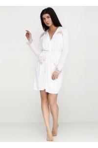 Женский пеньюар с халатом белого цвета