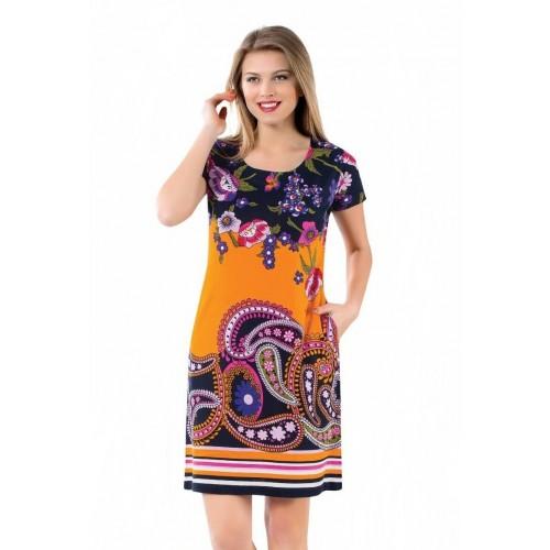 Трикотажное женское платье с узором