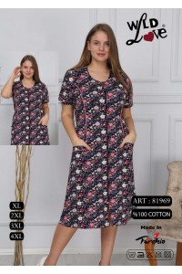 Женский летний халат-розочки