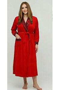 Длинный велюровый халат на запах