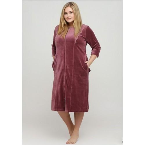 Красивый женский велюровый халат
