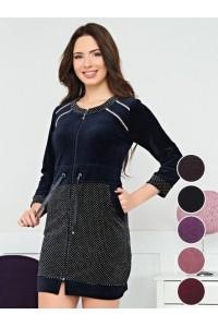 Модный велюровый халат короткий