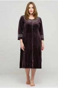 Модный велюровый халат на молнии