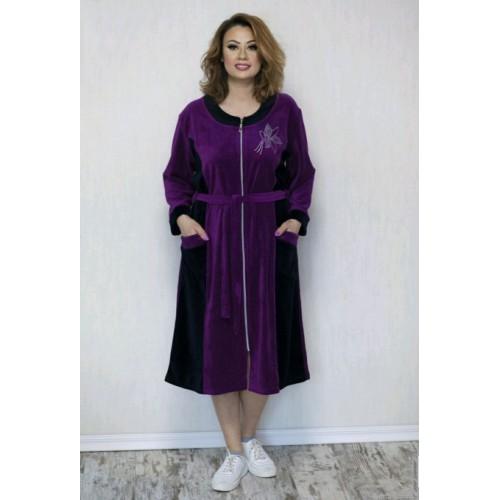 Модный женский велюровый халат больших размеров