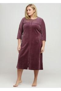 Однотонный велюровый халат большой
