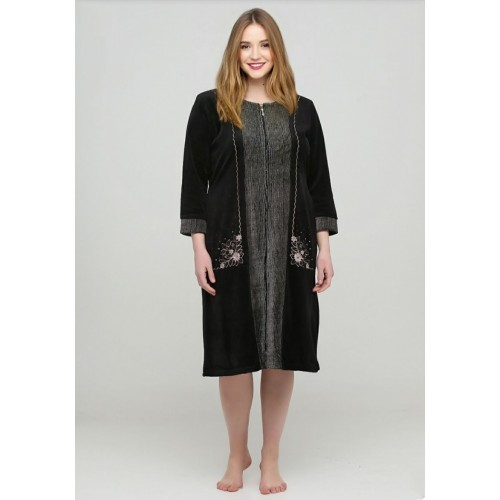Велюровый халат большой с узором