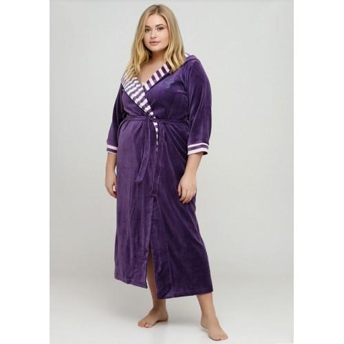 Велюровый халат длинный на запах с капюшоном