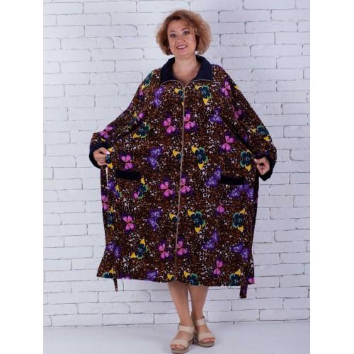 Велюровый халат с узором больших размеров