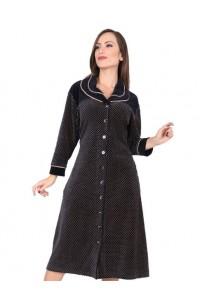 Велюровый стильный халат на пуговицах