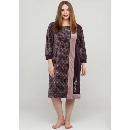Велюровый женский халат без воротника