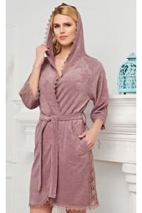 Женский халат тонкая махра с капюшоном