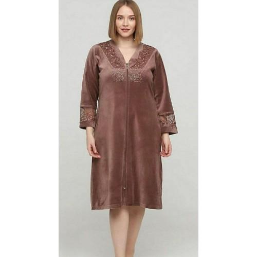 Женский стильный велюровый халат