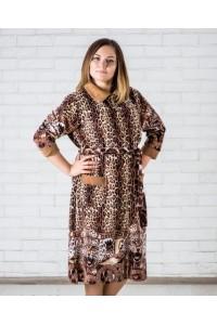 Женский тигровый велюровый халат