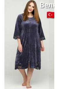 Женский велюровый халат 50-56