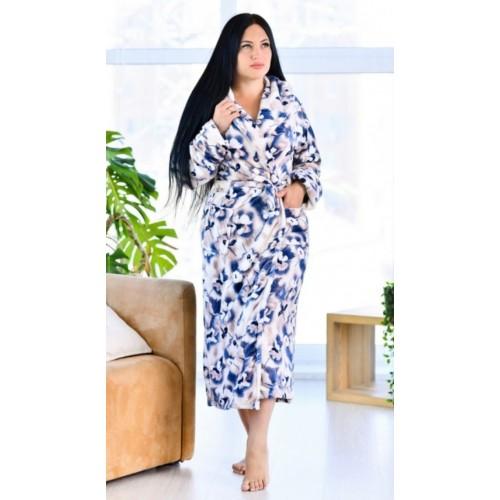 Длинный махровый халат с цветами