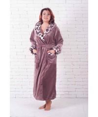 Длинный махровый женский халат