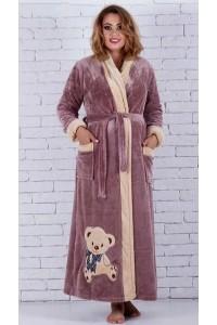 Длинный женский махровый халат Мишка