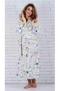 Красивый длинный женский махровый халат