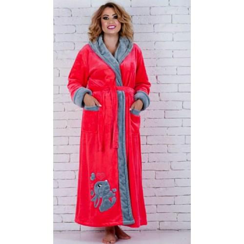 Красивый длинный женский махровый халат Зайка