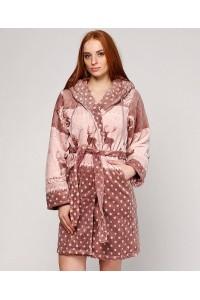 Махровый короткий женский халат с оленями