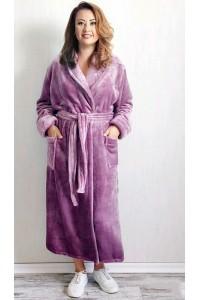 Махровый однотонный халат шаль