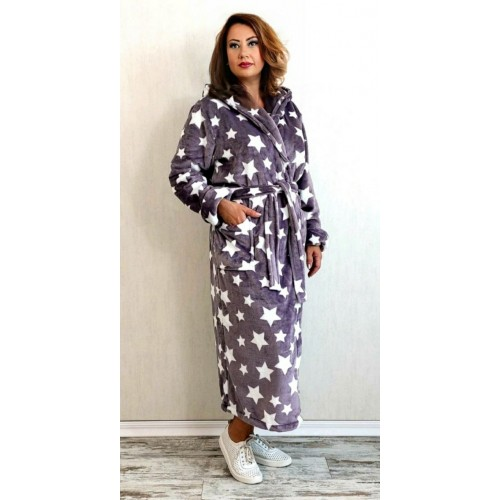 Махровый женский халат звёзды