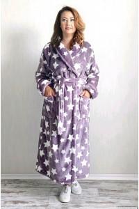 Махровый женский халат звёзды шаль