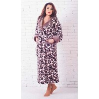 Махровый леопардовый длинный женский халат