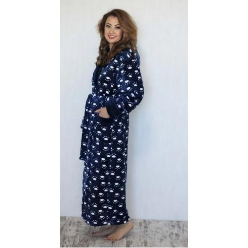 Пушистый махровый халат женский