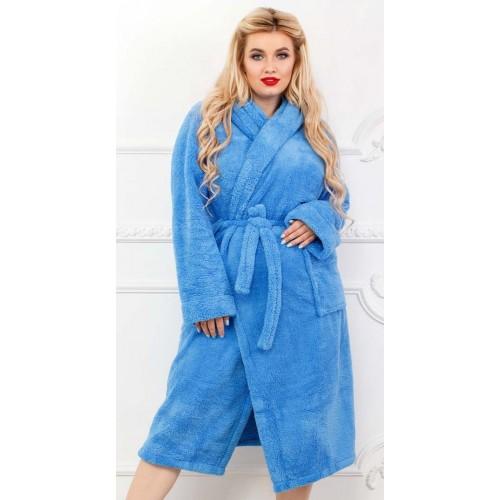 Пушистый женский халат большого размера