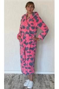 Тёплый махровый халат женский