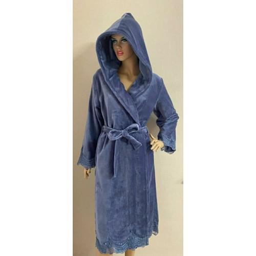 Женский бамбуковый халат c капюшоном