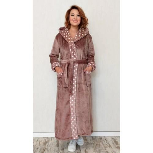 Женский бежевый махровый халат